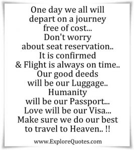 Make sure we do our best to travel to Heaven