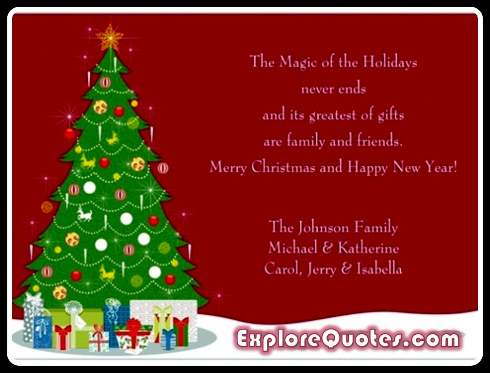 Christmas Sayings For Cards - The Magic Of The Holidays Never Ends