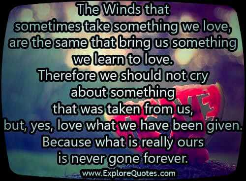 The winds that sometimes take something we love